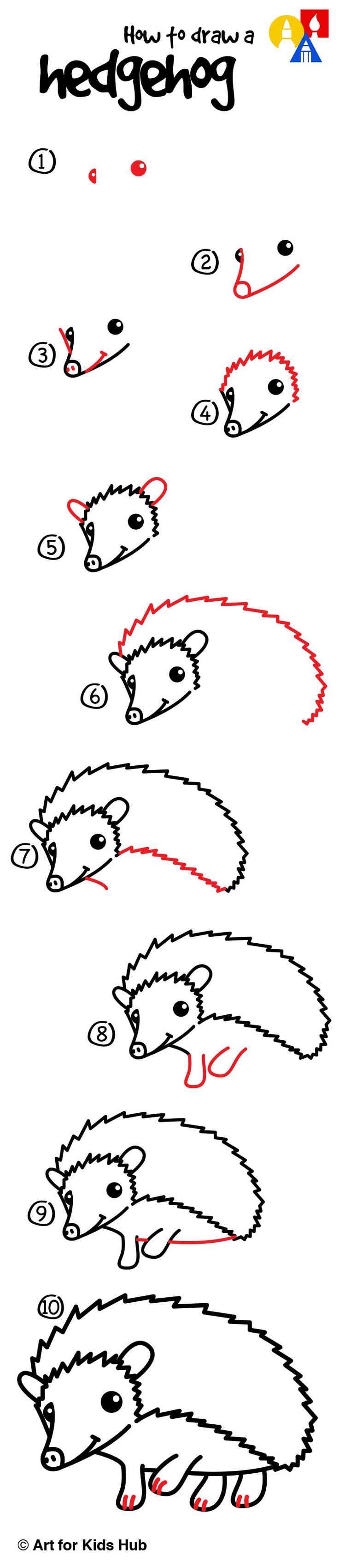 How to draw a hedgehog!