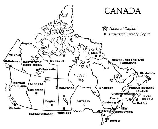 Printable Blank Map Of Canada With Provinces And Capitals Printable Map of Canada With Provinces and Territories, and Their