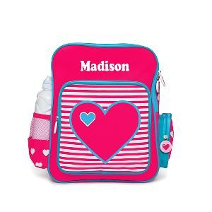 This personalised backpack is a great all rounder for school, after school sports and sleepovers. Your child is never going to lose this bag.  Features * Material 100% polyester * Adjustable shoulder strap * Top zip opening * Side water bottle holder * Velcro flap * Front pocket (with name) * Two side pockets * Personalisation maximum of 12 characters * Dimensions: 35cmH x 28cmW x 13cmD * Drink Bottle NOT included