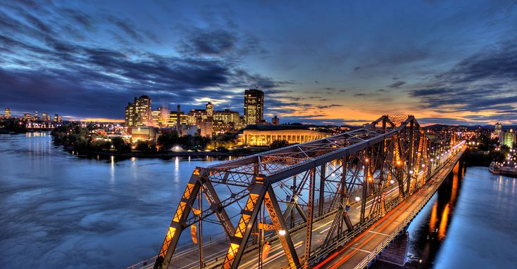 Alexander Bridge & Gatineau (Hull), Quebec skyLine with the Museum of Civilizations on the left right across from Parliament Hill in Ottawa - web source-MR