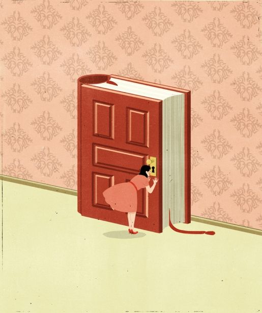 Alessandro Gottardo, 2012 - BOOKS - ILLUSTRATIONS - girl peeking through book / door - pink - art
