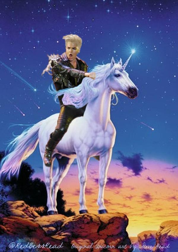 blonde adam on a white unicorn d adamlambert adam
