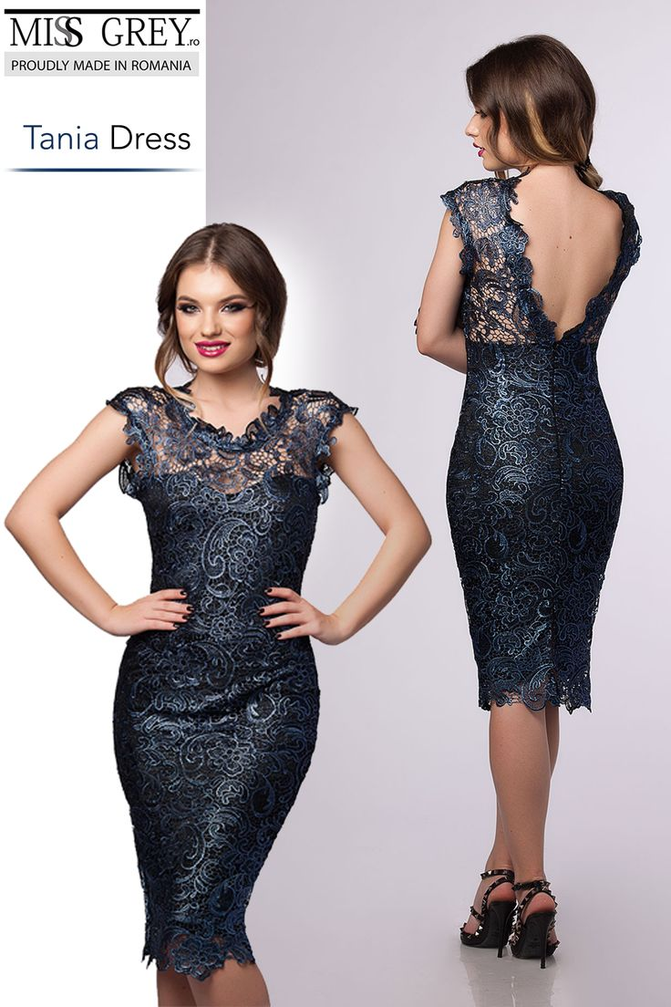 Wrap yourself into the timeless elegance of the lace, wearing the evening iridiscent lace dress.