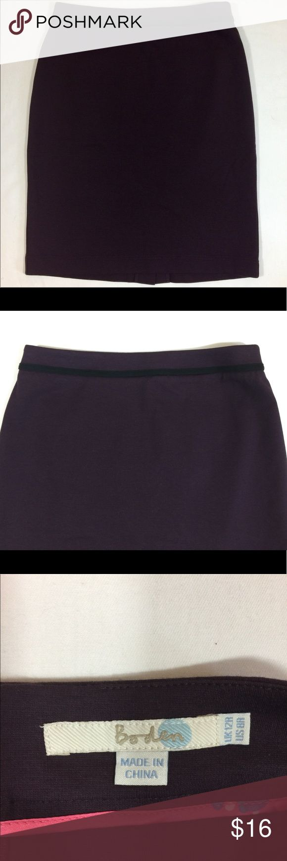 "Boden Dark Purple Pencil Skirt Size 8R Boden ""Breadwinner"" dark purple pencil skirt. Zips in back, knee length, good condition, size 8R Boden Skirts Pencil"