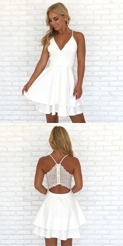Spaghetti Straps V Neck Short White Homecoming Dress White Homecoming Dresses Mini Homecoming Dresses White Short Party Dress [ 1440 x 720 Pixel ]