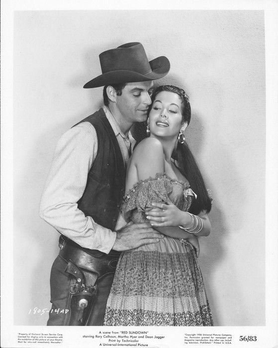 RED SUNDOWN (1955) - Rory Calhoun & Lita Baron - Directed by Jack Arnold - Universal-International Pictures - Publicity Still.