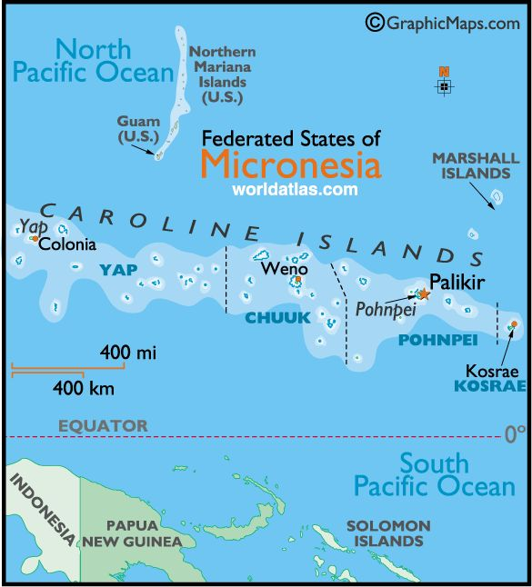 Micronesia  Jordan was born on Pohnpei