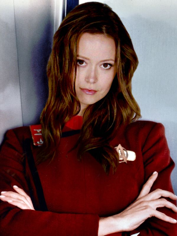 Summer Glau is a Star Trek Fan And people have photo shopped her in. Looks like she belongs in this one.