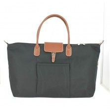 Travel Bag by HEXAGONA in Black and Chestnut face