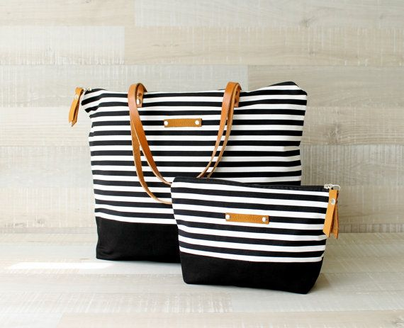Zippered Striped Tote Bag, EXPRESS SHIPPING, Tote Diaper Bag, Leather Straps, Summer Beach Bag, Nautical Bag, Handbag, Canvas, Laptop Bag