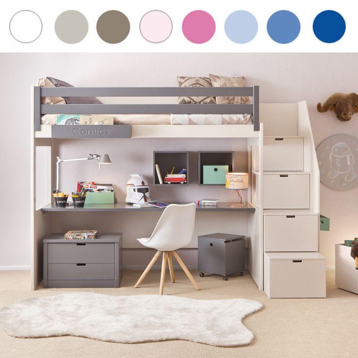 Asoral Hochbett LOFT XL LISO mit Treppe, Schreibtisch, 4 Stauraum Schubladen, H…