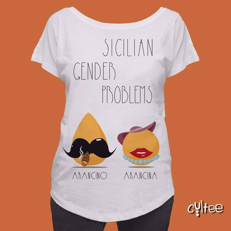 (t-shirt by Cultee.it)   Arancino or arancina, male or female? In the East of the island, the snack - shaped more like a pear, with a pointy top and a wider bottom - takes on the male form ('arancino'), whereas in the West (including Trapani!), it is known as a curvy perfectly round female - 'arancina'. Who is right? Well, let us leave this question unanswered… :)