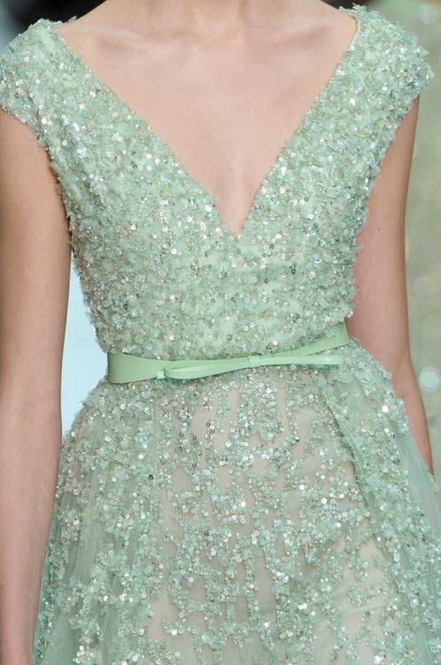 dreamy green dress: Eliesaab, Mint Green, Elie Saab Spring, Color, Ellie Will Be, Elie Saab Couture, Couture Fashion, Green Dresses, Haute Couture