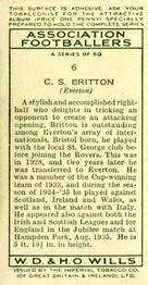 1935-36 W.D. & H.O. Wills Association Footballers #6 Cliff Britton  Back