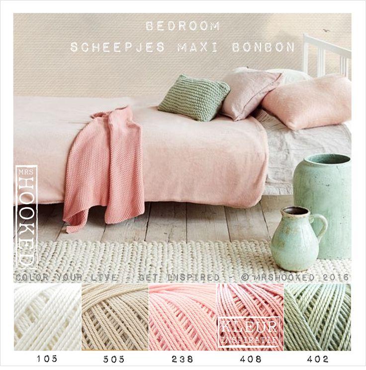 Scheepjes Maxi Bonbon in mooie pastel tinten voor de slaapkamer. Dit dunne garen combineert mooi met Scheepjes Catona. Geschikt voor fijn haakwerk zoals een kanten afwerking rond een deken