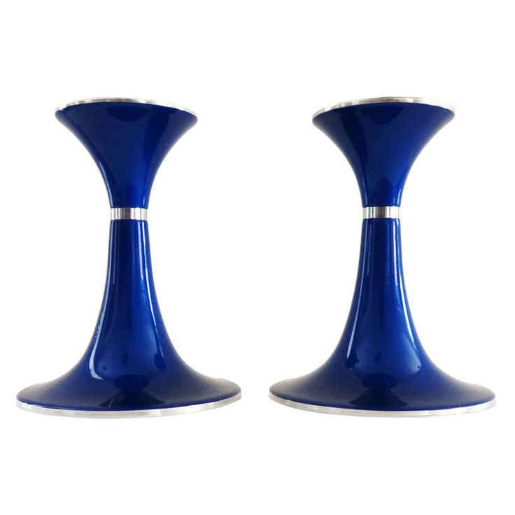 Pair of 1950's Bjorn Engo Modernist Enameled Candle Holders, Norway | From a unique collection of antique and modern candleholders and candelabra at http://www.1stdibs.com/furniture/lighting/candleholders-candelabra/