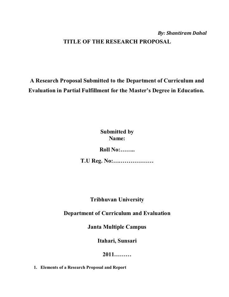 research proposal title page