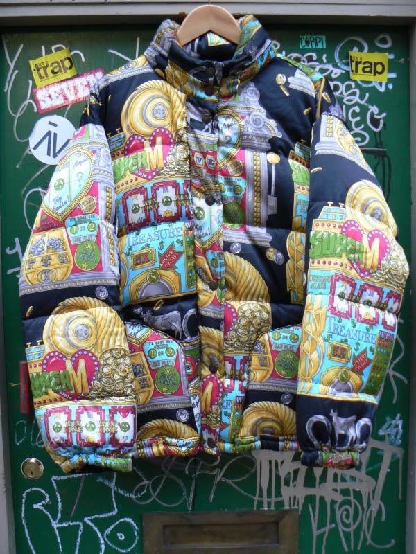 Vintage Moschino Slot Machine Print Puffer Jacket