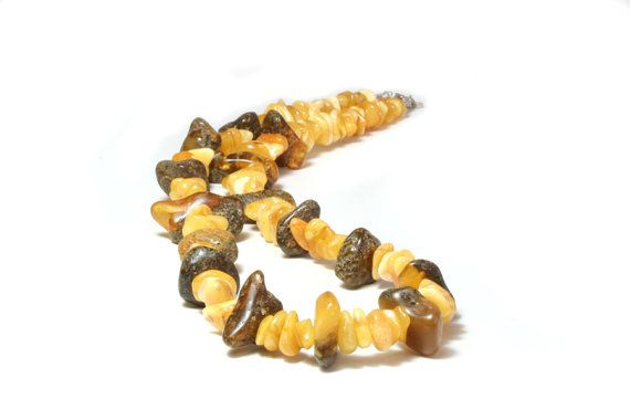 Amber necklace, raw amber and butterscotch mix