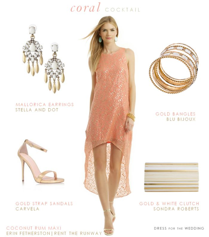 Coral And Gold Dress For A Cocktail Hour Wedding Reception Wedding