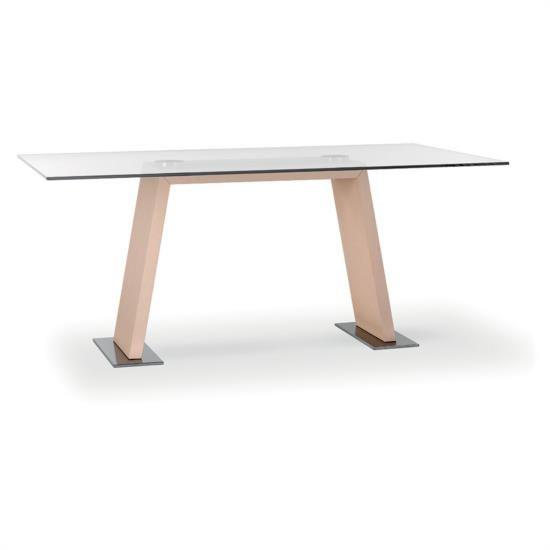 Tavolo fisso con base in legno e piano in vetro.