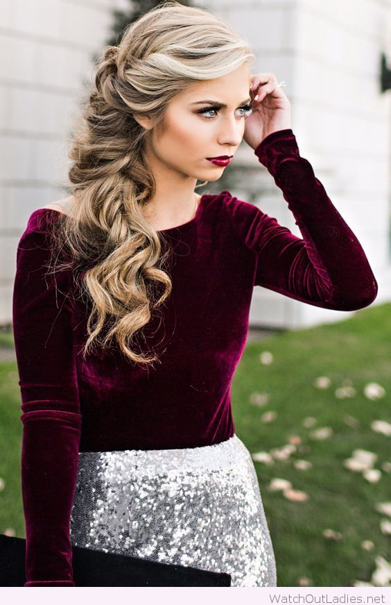 Velvet blouse, white glitter skirt and side hairstyle