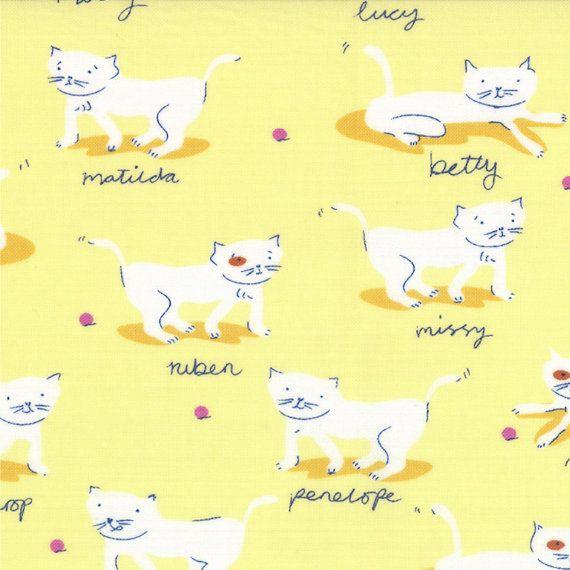 Half Yard Hello Petal Kitty Cats in Delightful Yellow, Aneela Hoey, Moda Fabrics, 100% Cotton Fabric, 18563 12