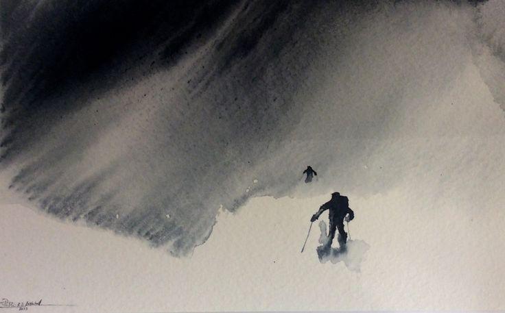 Snyfokk-In a Swirl of Blowing Snow – Watercolour giclee print by RT Brokstad