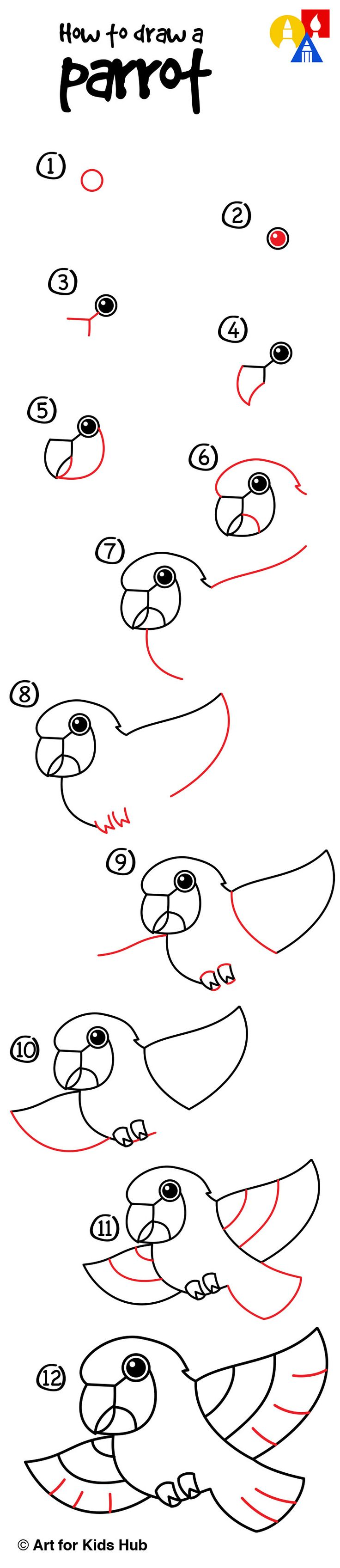 How to draw a cartoon parrot!