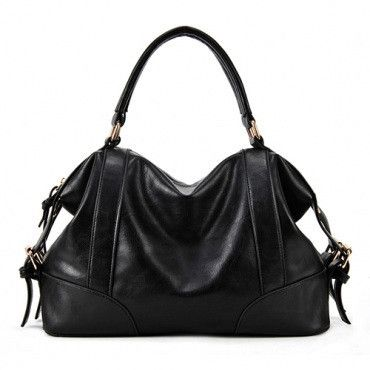 Faux Leather Shoulder Sac w/Zipper Close