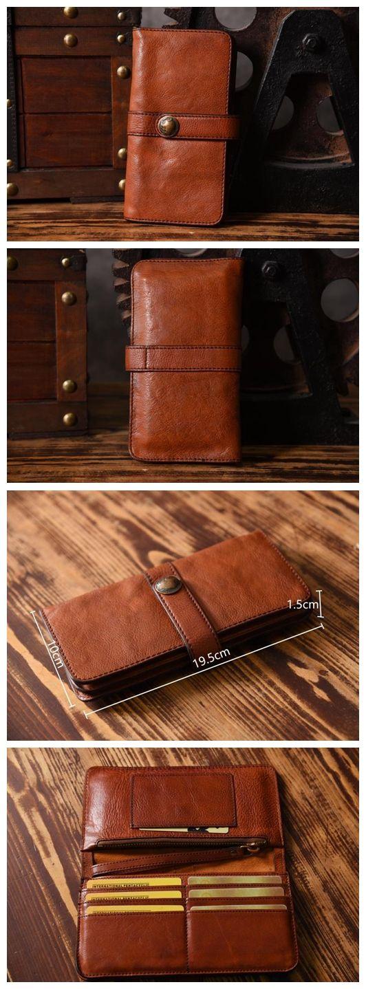 Handmade Vintage Genuine Leather Long Wallet Purse Card Holder iPhone Case 14115 - Brown