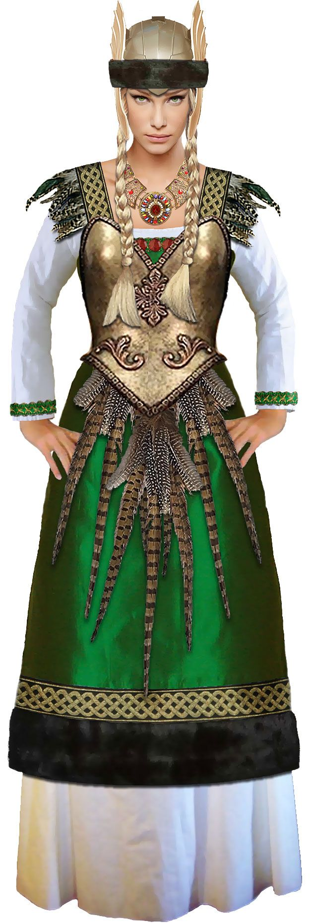 For reference, here's the Freyja costume design from our site. Abby did a great job and really made it her own.