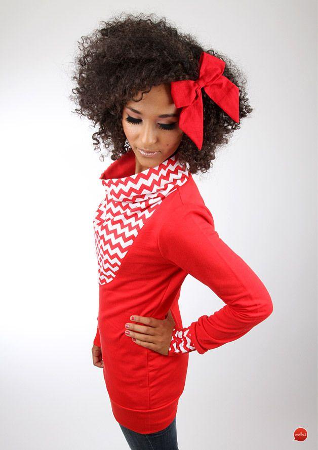 """Sweatshirts - MEKO """"Lion"""" Pullover Rot Damen Chevron - ein Designerstück von meko bei DaWanda"""