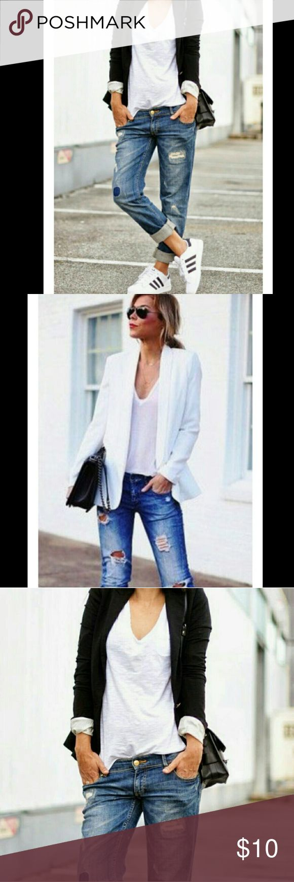 Classic Boyfriend VNeck White Tee Shirt See last picture for item details boutique  Tops Tees - Short Sleeve