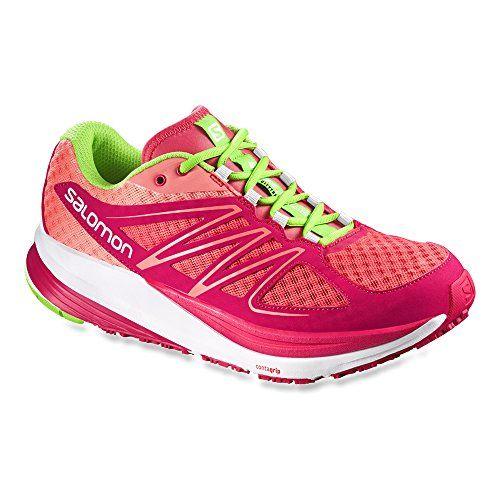 Salomon Womens Sense Pulse W Running Shoe PapayaBLotus PinkGranny Green 85 B US *** More info could be found at the image url.