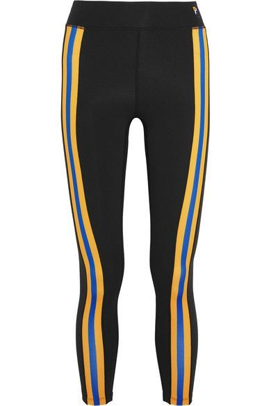 P.E Nation - Double Innings Striped Stretch-jersey Leggings - Black -