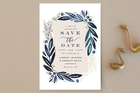 """Leaf Frame"" - Elegant, Floral & Botanical Save The Date Postcards in Midnight Blue by Alethea and Ruth."