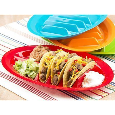 Set of 4 - Fiesta Taco Plates , Taco Stand Up Holder, free shipping