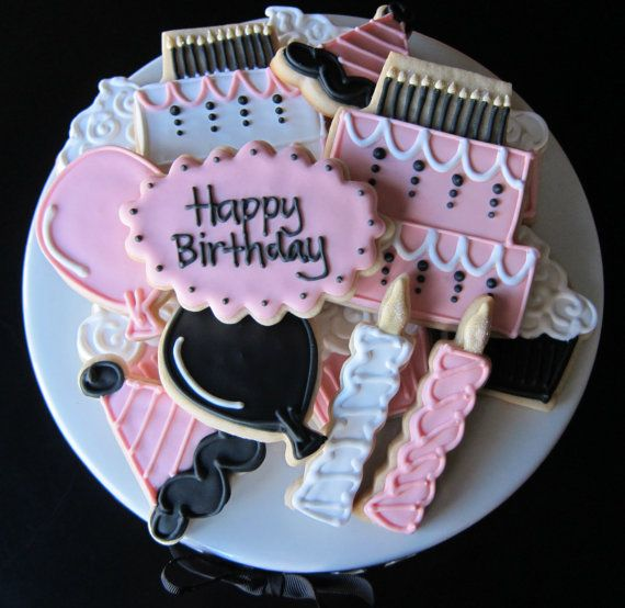 Happy Birthday Celebration Sugar Cookies by NotBettyCookies, $32.00