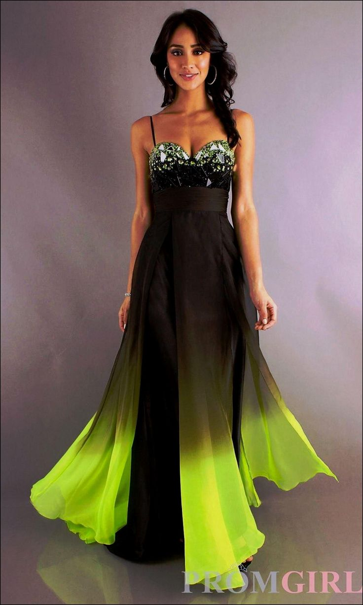 A Line Floor Length Sweetheart Straps Fashion Black Yellow Ombre Dress