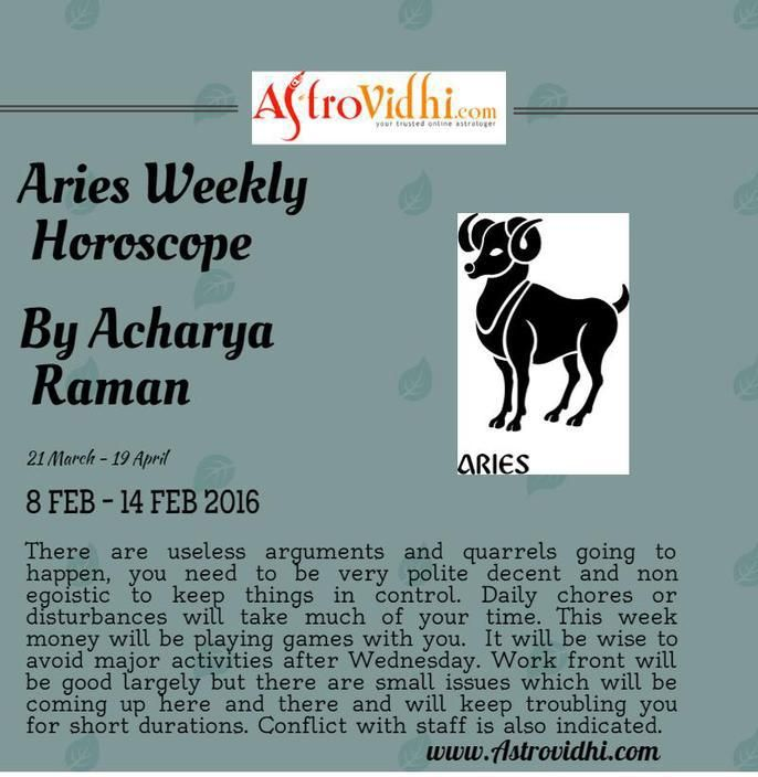Check your Aries weekly Horoscope ( from 8 Feb to 14 Feb 2016 ) and plan your full week accordingly.