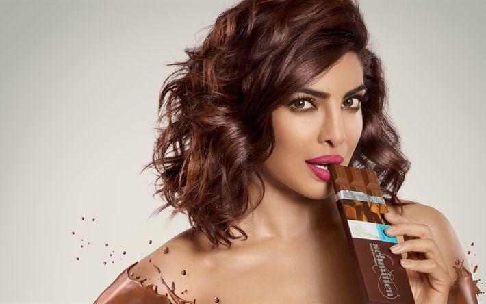 Descargar fondos de pantalla 4k, Priyanka Chopra, 2017, morena, la actriz india, de chocolate, de belleza, de Bollywood