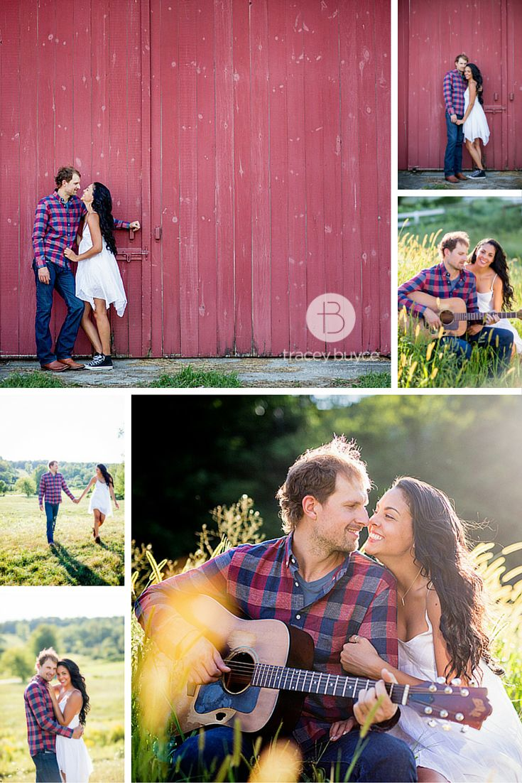 summer engagement photos with rustic red barn | Tracey Buyce Engagement Photography #engagementphotography