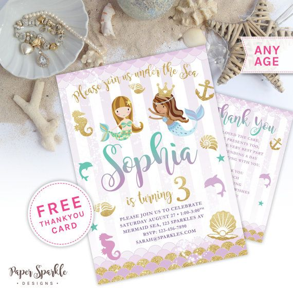Mermaid party Mermaid Invitation Little by PaperSparkleDesigns