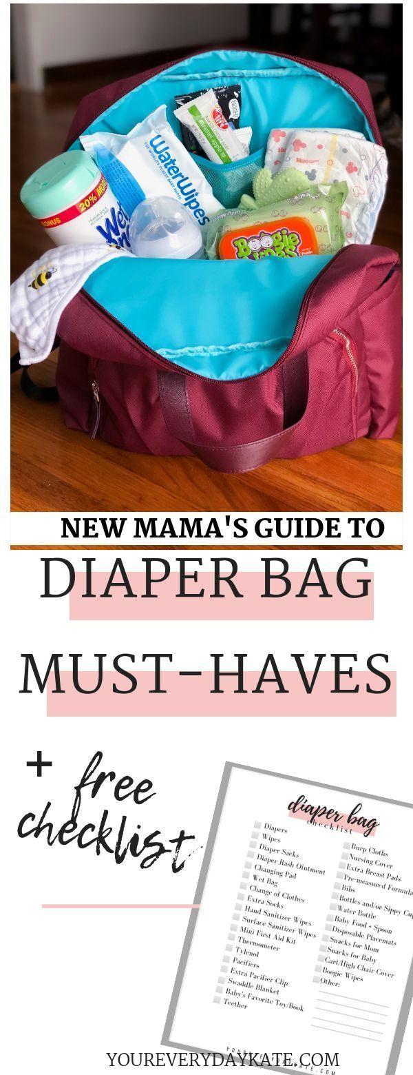 Neue Mama Wickeltasche muss Liste haben! Snacks, Windeln, Handtücher, Handtücher ….   – Newborn Essentials