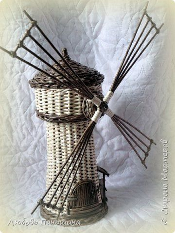 Поделка изделие Плетение Мельница мини-бар и шкатулки-бочонки Бумага Трубочки бумажные фото 2