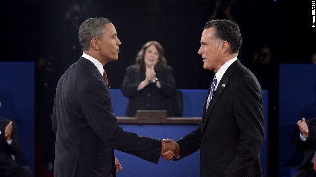 166 President Obama and Republican presidential candidate Romney shake hands before the start of the debate.  October 16, 2012