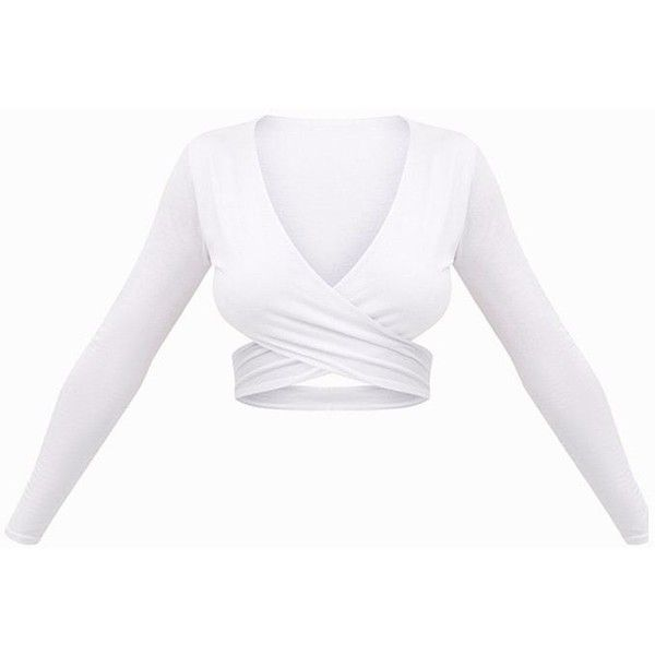 White Wrap Jersey Longsleeve Crop Top ($21) ❤ liked on Polyvore featuring tops, white jersey, crop tops, white top, white crop top and long sleeve tops