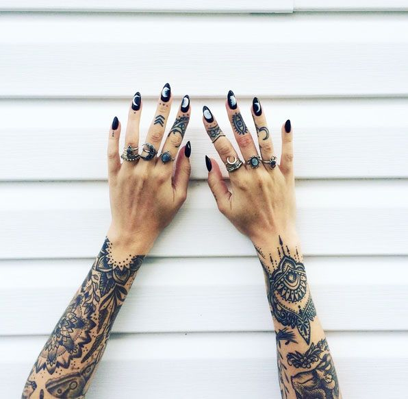 ✧ Moonchild Queen @luna.lindsay ♔ representing in her Raised By Wolves treasures! Shop them now at www.shopdixi.com // shop dixi // moon child // gypsy // moon phases // hippie // grunge // hand tattoos // mandala tattoo // finger tattoos // rings // labradorite // boho // bohemian