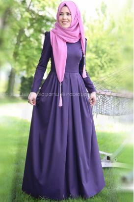 Rabia Şamlı - Rose Elbise Mor